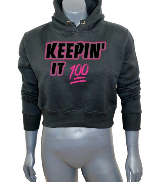 Crop-top-hoodie-Black-Keepin It 100-Mannequin